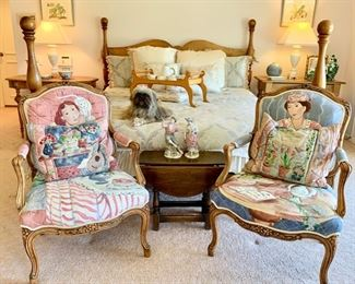 """Designer """"Jack Lawrence"""" French Provincial Style Chairs,  Custom Hand Painted by """"Susan Draculitch."""" For Poster Bed by """"Jean of Topanga."""""""