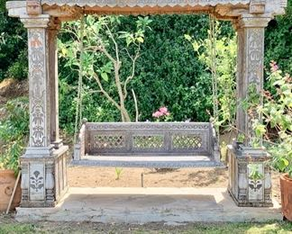 """Antique Carved Post and Lintel , 84"""" X 102"""", with Swing,, 27"""" X 63"""", From Tibet (Brass Inlay and Chains)...Some Age Damage"""