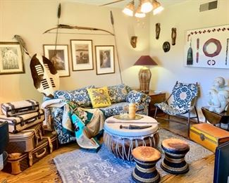 """A Superb Adventure Room: Edward S. Curtis Photogravures;  Masai Spears; Framed African Beading; 30"""" Diameter Drum/Table, First Class Luggage, More!"""