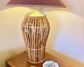 Rattan Lamp on Mid-Century End Table