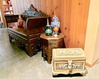 Inlaid Bench, Side table, Bone Covered Trunk...All from Far Away Places