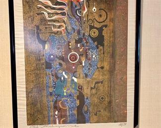 "Tadashi Nakayama (1927-2014), ""Afternoon Dressed in Blue"", 26x32, wood block print."