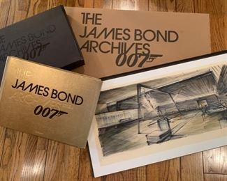 """Taschen published commemorative book and signed rendering from """"Goldfinger"""" by Sir Ken Adam. 30x16"""