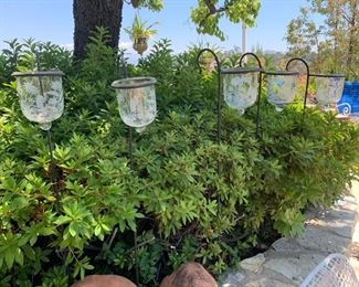 Outdoor Candle Lamps with Etched Shades