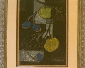 "Toru Mabuchi (1920-1994), ""Yuzu Fruit"", wood block print, 11x17."