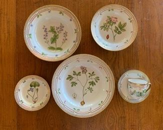 Flora Danica by Royal Copenhagen, 8 each, Dinner Plate, Salad,/Desert, Rim Soup, Bread & Butter, Cup and Saucer, Offered individually, more images available, email, hwcinvites@gmail.com