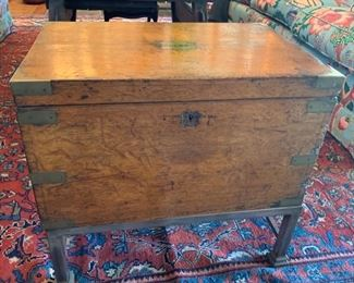 Antique Campaign Trunk on Stand