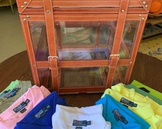 """Lucite and Leather Ralph Lauren Case (Rare item from his 40th """"Polo"""" anniversary.  It held 40 """"Polo"""" shirts.  We have 7 that were never worn)."""