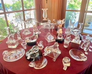 Steuben Hand Crafted American Crystal...Early pieces Decorative and Serving Pieces Plus Vintage Menagerie of 23 Pieces