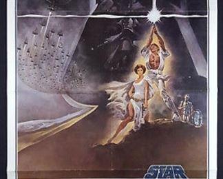 Star Wars, 1977, paper, rolled, 27x41, Tom Jung artist.