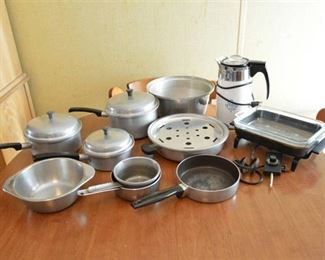 Assorted Pots & Pans, Coffee Percolator, and Electric Skillet