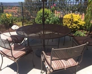 Round patio set w/ umbrella, 6 chairs $595. Buy now call 626-710-2867