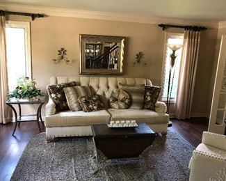 Living Room - 89 inch couch with wall mirror, floor lamp, tables