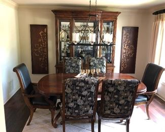 Dining set with side server, china cabinet, 78 x 46 inch table with leaves, six chairs wall plaques, glassware