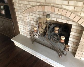 Fireplace iron candelabra