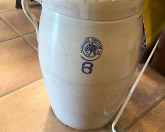 Vintage 6 gallon churn blue and white Indian pottery