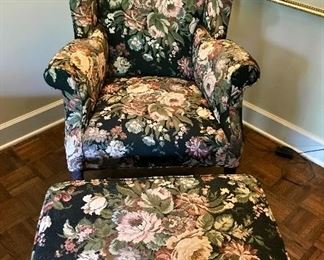 Antique Wing Back Chair with ottoman