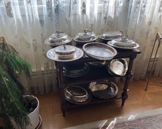 Collection of silver serving dishes (some with lids)