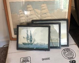 Vintage nautical replica paintings, all framed.