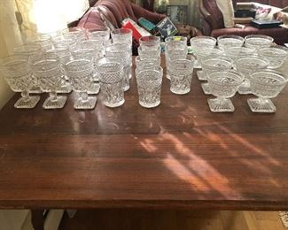 Collection - Cape Cod Crystal. 15x large goblets, 5x large tumblers, 7x 4oz tubers, and 10x sherbet dishes.