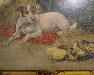 Vintage lithograph dog print