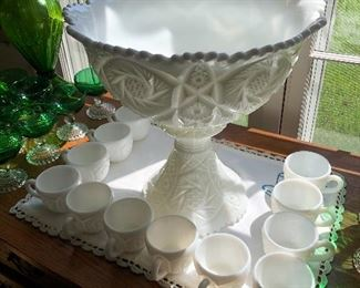 Antique white Westmoreland cut glass punch bowl cups and pedestal