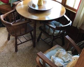 Beautiful breakfast table with separate lazy Susan