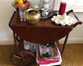 Vintage mahogany tea cart