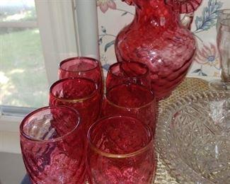 Beautiful cranberry glass