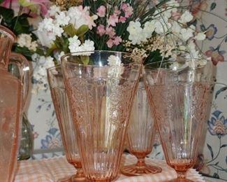 Gorgeous pink depression glass ice cream soda glasses