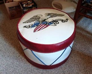 1960s ottoman looks like an American drum