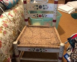 Mary early milk painted chair with Rush seat