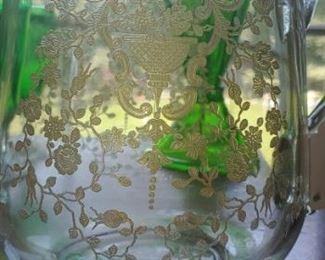 Vintage Glastonbury lotus flower pitcher 22 kt gold