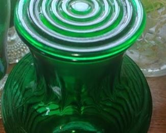 Rare Evergreen Manhattan juice or water carafe complete with glass top Anchor Hocking