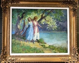 "George Varian (attributed), oil on canvas, ""Summer Sisters"", circa 1916, 34x40 in. framed.  Gallery Price: $8500. Sale Price $3500."
