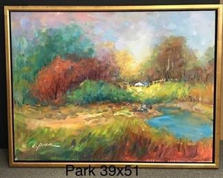 "Park, ""Season in Transitions"",  oil on canvas, 39 x 51 in. framed.  Gallery Price $3900.  Sale Price $1949."