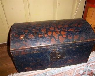 small 19th century dome top grain painted trunk