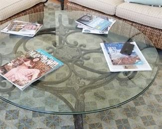 Wrought iron base coffee table