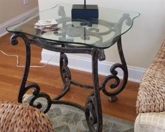 Wrought iron base end table