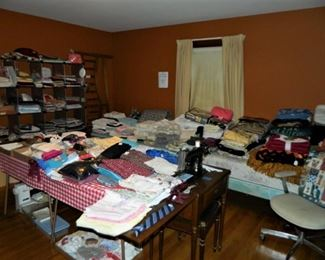 Singer sewing machine, fabric, clothing, linens, & bedding