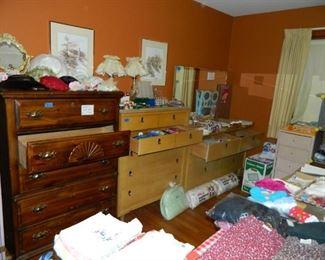 Sewing supplies, ladies' hats, bedroom furniture