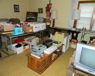Typewriters, record players, etc.