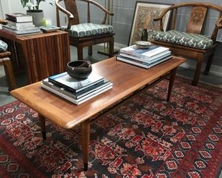Armenian Rug + Lane Coffee Table + 4 Vintage Monk Chairs + Side Table + Books