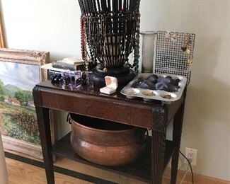 End table, hand hammered cooper pot and some of the jewelry