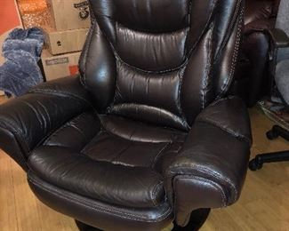 Large Genuine Leather chair with foot stool (not shown)