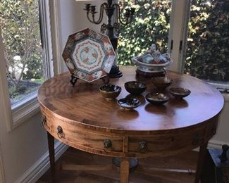 Old imari selection on a antique drum table.