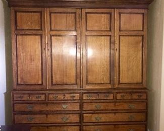 Rare double oak English linen press.  This piece is beautiful with rich patina.