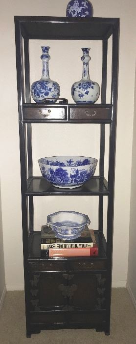 Nice  Chinese hardwood cabinet with Blue and white pottery, Asian and Delft
