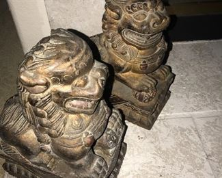 Wood carved foo dogs