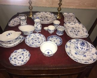 HUGE!!  collection of Royal Copenhagen ful and half lace dinner service.  Many serving pieces